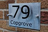 House Number Sign/Plaque Brushed Aluminium & Acrylic by Custom GOS928 (Made in UK)