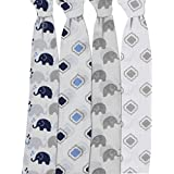 Bacati Elephants Set Of 4 Muslin Swaddling Blankets, Blue/Grey