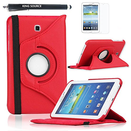 Kingsource (TM) 360 Rotating Leather Stand Case Cover for Samsung Galaxy Tab 3 7.0 SM-T210R and SM-T217S 7-Inch P3200 Tablet with 1 Screen Protector, 1 Stylus and Microfiber Digital Cleaner color red
