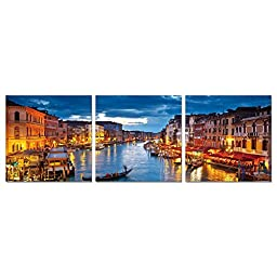 Furinno SeniA Wall Mounted Triptych Photography Prints, Set of Three (Venice)