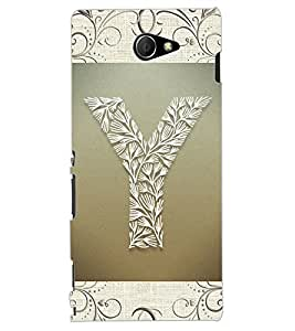 "ColourCraft Alphabet ""Y"" Design Back Case Cover for SONY XPERIA M2"