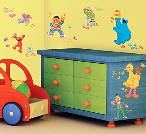 Sesame Street Peel And Stick Wall Decals (3 Pieces) - Sesame Street Peel And Stick Wall Decalsincludes: (45) Reusable Vinyl Wall Decals In Assorted Sizes Up To 18