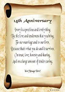 Wedding Gifts For 14th Anniversary : 14th Anniversary Personalised Poem Gift Print: Amazon.co.uk: Kitchen ...
