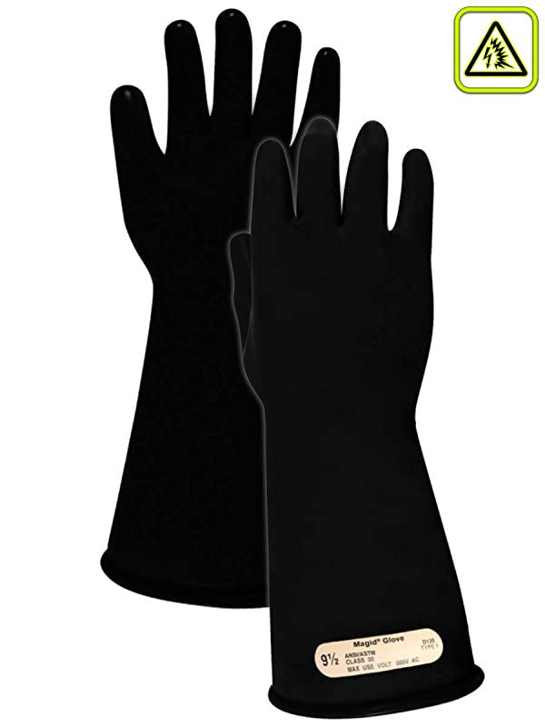 Magid M00 A.R.C. Natural Latex Rubber Class 00 Insulating Glove with Straight Cuff, Work, 14 Length, Size 9, Black (Color: Black, Tamaño: Size: 9 | 14 Long)