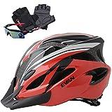 EVAN(エヴァン)超軽量 高剛性 自転車 ヘルメット 通勤 サイクリング ロードバイク 大人用 安全カラー春用 サイクリンググローブ サングラス 付 ブラック&レッド