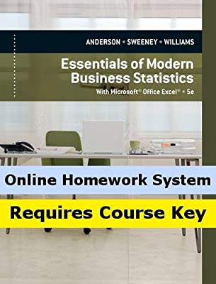 CengageNOW Online Homework System (with eBook) to Accompany Anderson/Sweeney/Williams' Essentials of Modern Business Statistics with Microsoft Excel, 5th Edition, [Instant Access], 2 terms (12 months)