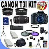 51uN78Kqs1L. SL160  Top 10 Digital SLR Camera Bundles for February 12th 2012   Featuring : #4: Canon EOS Rebel T3i 18 MP CMOS Digital SLR Camera and DIGIC 4 Imaging with EF S 18 55mm f/3.5 5.6 IS Lens &amp; Canon 55 250IS Lens + 58mm 2x Telephoto lens + 58mm Wide Angle Lens (4 Lens Kit!!!!!!) W/32GB SDHC Memory+ Battery Grip + 2 Extra Batteries + Charger + 3 Piece Filter Kit + UV Filter + Full Size Tripod + Case +Accessory Kit