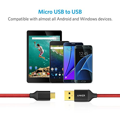 [2-Pack] Anker® 6ft / 1.8m Nylon Braided Tangle-Free Micro USB Cable with Gold-Plated Connectors for Android, Samsung, HTC, Nokia, Sony and More (Red) at Electronic-Readers.com