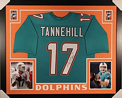 Autographed/Signed Ryan Tannehill Framed 35x43 Miami Dolphins Aqua Football Jersey JSA COA