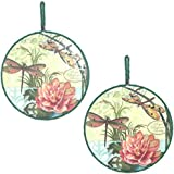 Dragonfly Ceramic Trivets/ Wall Hanging Set Of 2