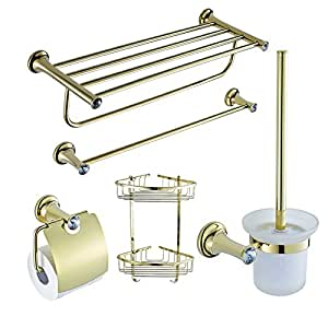 Gold Plating Brass Crystal Bathroom Accessories Set 5 Piece D5100 Home Kitchen