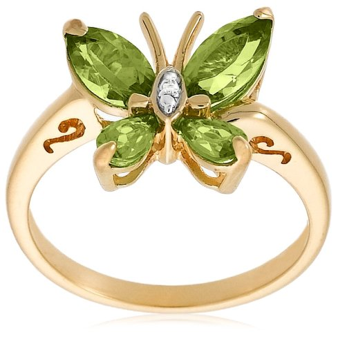 Yellow Gold Plated Sterling Silver Peridot with Diamond-Accent Butterfly Ring, Size 9
