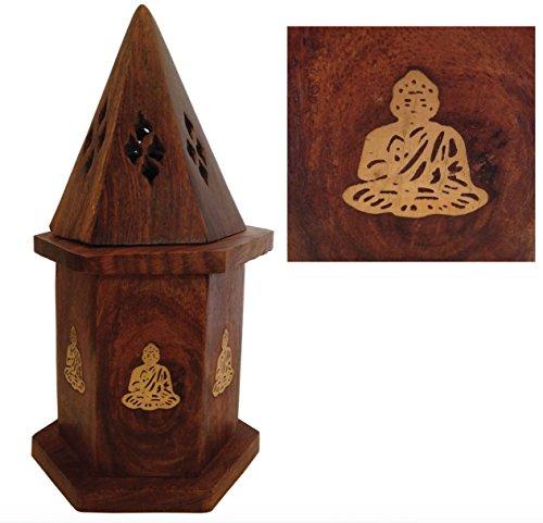 Sostenedor de incienso de Buddha de la torre Vertical Wicca Hippie Boho colector de cenizas del cono