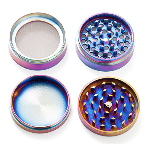 Colourful-4-Pieces-Metal-Zinc-alloy-Tobacco-Grinder-Spice-Grinder-Herb-Grinder-Rainbow-Metal-By-KepooMan