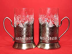2 ea Old Fashioned Russian Cut Crystal Glasses & Matching Metal Glass Holders Podstakannik suitable for hot/cold liquids