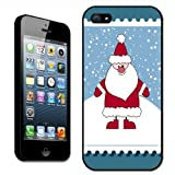Fancy A Snuggle Christmas Stamps Santa Claus Standing in Snow Clip On Back Cover Hard Case for Apple iPhone 5