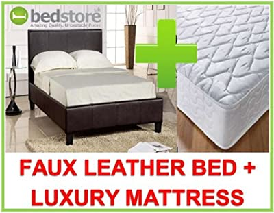 4ft6 Double Prado Faux Leather Bed In Black With Luxury Semi Orthopaedic Mattress