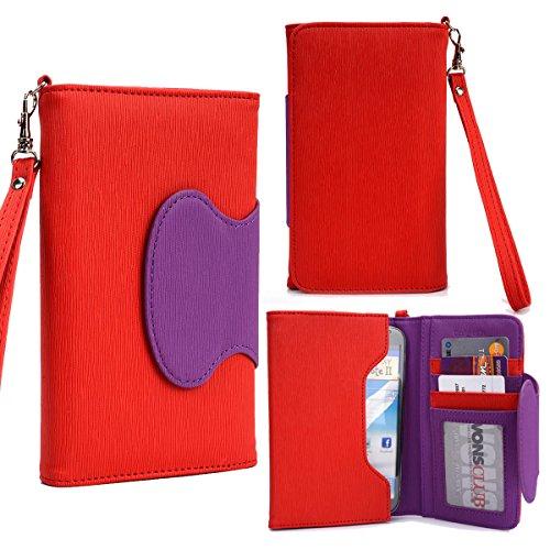 NuVur ™ Colorblock 6″ Universal ::Smartphone:: Wallet Clutch Wristlet Fits Elephone M1, P9000|Red/Purple