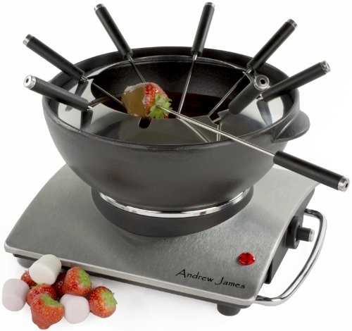 Andrew James Large 1.2 Litre Cast Iron Electric Fondue - Suitable For All Types Of Fondue - 1000 Watts