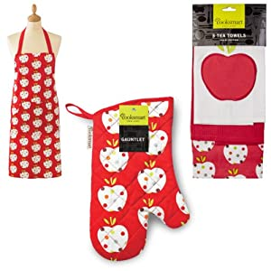 New Cooksmart Apple Print 3 Pk Tea Towels Apron & Single Oven Glove Gauntlet Set