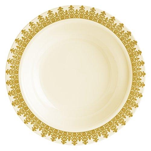 Decorline-Vaisselle de luxe à usage unique-Couleur crème avec bord motif doré gaufré -Party-jetable -plastique rigide-Ornament Collection (Assiette à soupe 400ml)