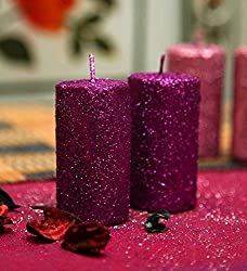 Blackberry Overseas Set Of 2 Decorative Pillar Shaped Sparkle Candle