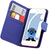 ITALKonline BLUE Executive Wallet Case Cover Skin Cover with Credit / Business Card Holder For Apple iPod Touch 5 5G (5th Generation) 8GB, 32GB, 64GB