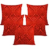 Xarans Velvet Floral Red Cushion Cover Set Of 5 (40x40cm)