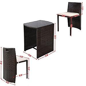 Giantex 3 PCS Cushioned Outdoor Wicker Patio Set Garden Lawn Sofa Furniture Seat Brown by Giantex