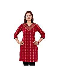 Shanaya Cotton Traditional Maroon Self Print Kurti For Women