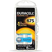 Duracell Easytab Hearing Aid Batteries Size 675, Pack Of 6, 1.45 V