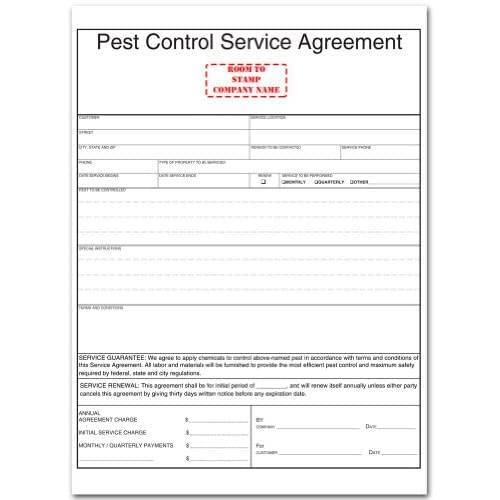 Amazon.com : Pest Control Service Agreement Form : Blank