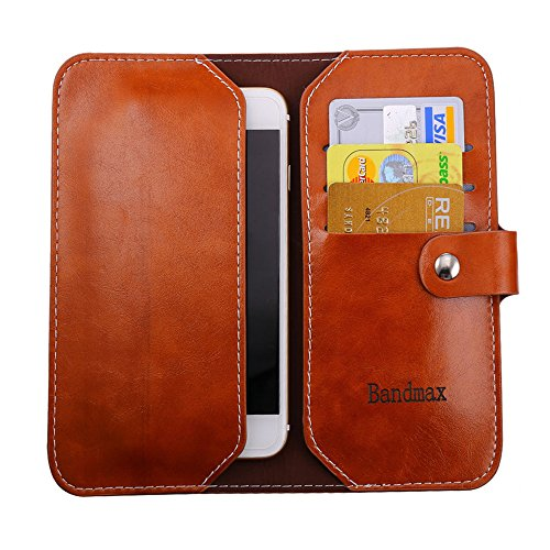 "Bandmax Genuine Leather Wallet Case High Quality Soft Slim Leather Clutch Bag Envelope Money Card Holder Cover for Phone Size 4.8""-5.5"" (Brown, Large)"