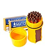 Bundle - 2 Items: UCO Match Container Kit with 75 UCO Stormproof Matches - Waterproof & Windproof (Yellow)
