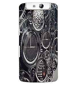 ColourCraft Clocks Design Back Case Cover for OPPO N1