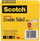 Scotch® Double Sided Tape 665-2P12-36, 1/2-inch x 1296 Inches, 2-Pack