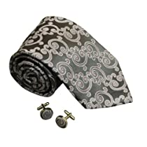 6401 Grey Pattern Designer Classic Silk Neckties Cufflinks Set By Y&G