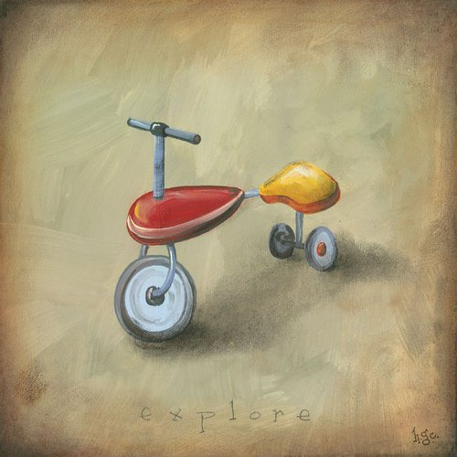Oopsy daisy boy's toys trike stretched canvas wall art by heather gentile-collins, 14 by 14-inch