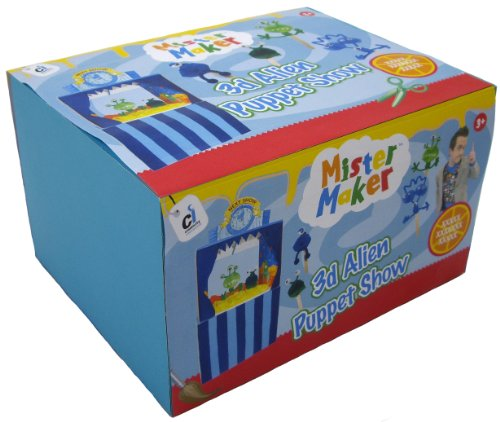 Mister Maker 3D Alien Puppet Show Theatre - Kit includes craft sticks, googly eyes, pom poms, felt tips, printed card designs, cord, wool, sticker sheet, felt, glue, foam tissue and full instructions.