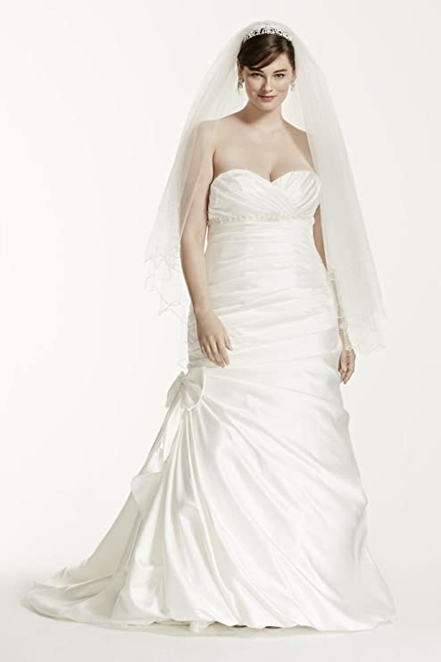 Satin Mermaid Plus Size Wedding Dress with Bow Style 9V3204, Ivory, 14W