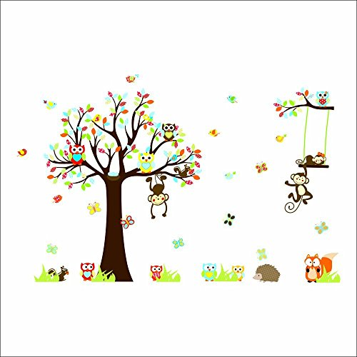 Colorful the Squirrel Owl Monkeys Playing on the Tree Wall Vinly Decal Decor Sticker Removable Wall Decal for Nursery Children's Bedroom