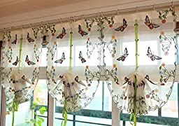 Delicate Embroidery Butterfly Living Room Curtain Beige Lace Curtain