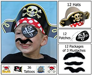 12 Pirate Dress up Party Favor Pack (12 Pirate Hats, 12 Pirate Patches, 36 Stick-on Mustaches, & 36 Pirate Tattoos) Costume Supplies by Multiple