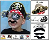 12 Pirate Dress up Party Favor Pack (12 Pirate Hats, 12 Pirate Patches, 36 Stick-on Mustaches, & 36 Pirate Tattoos) Costume Supplies