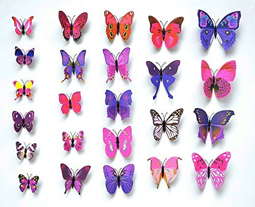 Sangu 3D Colorful Butterfly Removable Mural Wall Stickers Wall Decal for Home Decor(Colorful)