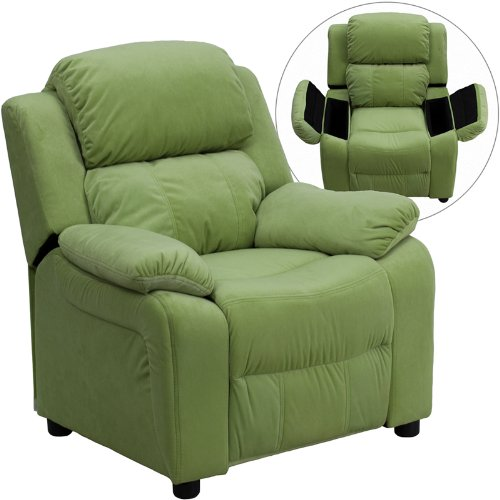 Deluxe Heavily Padded Contemporary Avocado Microfiber Kids Recliner Storage Arms front-67669