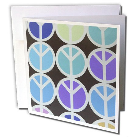 Florene Sixties - Purple Aqua and Blue Peace Symbols - 12 Greeting Cards with envelopes (gc_34999_2)