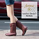 Amaort [アマート] 正規品 SHEAT ショート レインブーツ (長靴) レディース ブラック Mサイズ 24cm