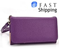 Purple Universal [Multiple Colors Available] Wristlet Wallet [Metro Series] for Samsung Galaxy S3 i9300 Mobile + Envydeal Velcro Cable Tie