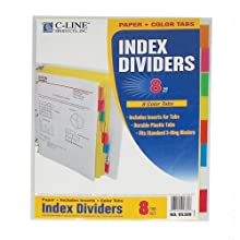 C-Line Colored Tab Paper Index Dividers, Multi-Color, Fits Standard 3-Ring Binders, One 8-Tab Set (05380)